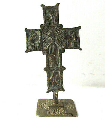 Ancient Byzantine Medieval Cross Crucifix  with bread stamp Prosphora
