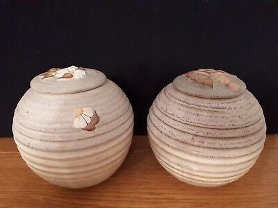 Collectible Pair of Stapleton House Studio Pottery Lidded Jars Flower Decoration