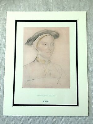 Large Hans Holbein Print Portrait of a Lady Woman Rare Vintage Limited Edition