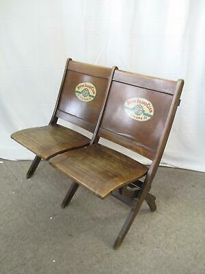 Pre War SEVEN ISLAND Club CIGARS Wood Folding Double Bench Chair