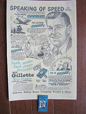1940's Gillette Blue Blades Advertising Sign w New Originally Wrapper King Litho