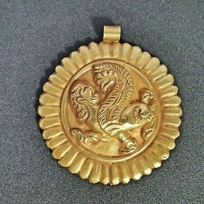 Rare Ancient Greek Sphinx Handcraft Solid Gold Cameo 18K Pendant #A08
