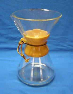 "Vintage Chemex Coffee Brewer 9 1/2"" tall 6 cups Green Stamp Pyrex Glass USA"