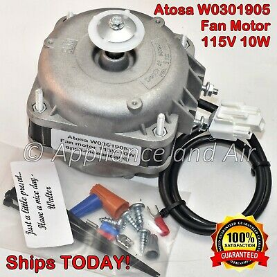 Atosa W0301905 Evaporator Fan Motor 120V + Instructions, Hardware - SHIPS TODAY!