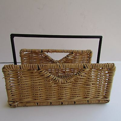Wicker Napkin Condiment Letter Holder With Black Metal Handle