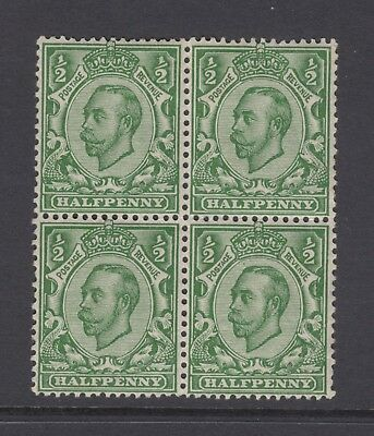 Block of 4 GB KGV 1/2d Green SG344 George V 1912 Mint Hinged Downey Stamps