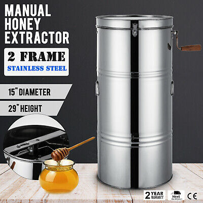 """Two 2 Frame Honey Extractor Stainless Steel Beekeeping Durable 2"""" Outlet Hot"""