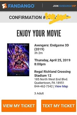 Avengers Endgame Movie Tickets 3D PA April 25th 8PM 18951. Seats 3.