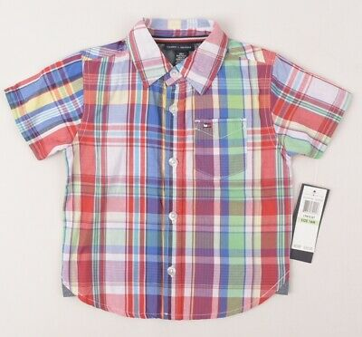 TOMMY HILFIGER Boys' Kids' Checked Short Sleeve Shirt, size 18 months