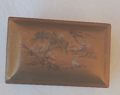 Vintage Foochow Gold Lacquer Box Landscape Decorated Lid Chinese