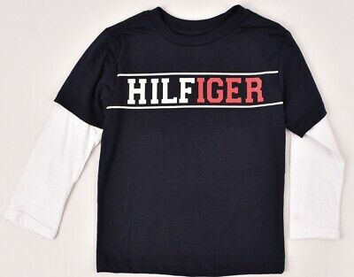 TOMMY HILFIGER Boys' Kids Layered Look Long Sleeve Top, Navy Blue, 4-8 years