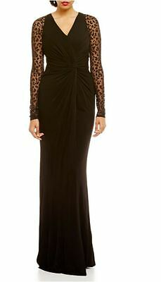 350c9d01f01 DAVID MEISTER BLACK Illusion Long Sleeve V-Neck Ruched Gown 10 ...