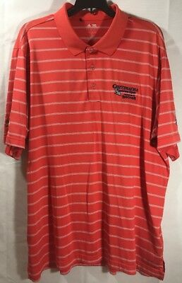 Adidas PureMotion Golf Polo Shirt XL EUC Red Orange White Stripe Chitimacha Open