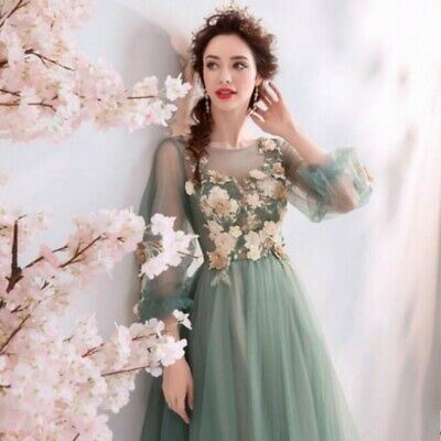Fashion Women Party Skirts Lace Long Sleeve Floral Decor Long Princess Dress New