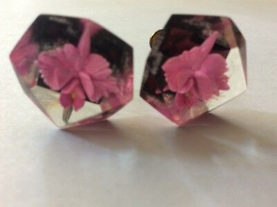 Lucite orchid screw back earrings