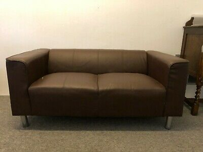 Brown Leather Two-Seat Sofa, living room