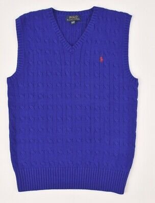 POLO RALPH LAUREN Boys' Kids' Knitted Vest, Royal Blue, sizes 10-12 14-16 years