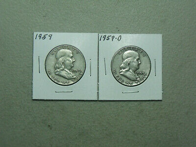 1959 Silver Franklin Half Dollars P & D set (2 coins) Average Circulated