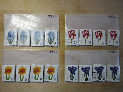 Full Set Spring Flowers Issues # 3900 - # 3903 x 100 Used US Stamps of Each Lot