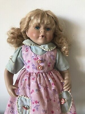 Large  Porcelain doll Clothed  pink dress Sandals ringlet hair