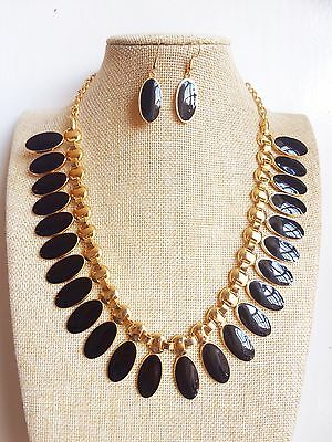 50's Vintage style Black Oval Pendant Gold Plated Enamel Necklace Earrings set