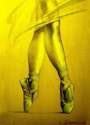 ACEO Pointe Shoe ballet LE Print of Original Painting by S. Hahonin