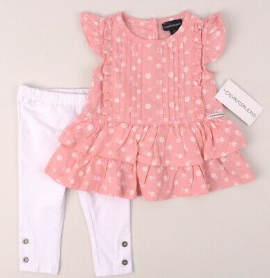 CALVIN KLEIN JEANS Baby Girls' Adorable 2pc Outfit, Pink/White, size 12 months