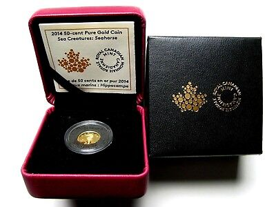 2014 Canada Seahorse 1/25 Troy Oz. 9999 gold coin 50 cents proof