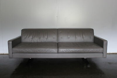 """Rare Immaculate Pair of Poltrona Frau """"Kennedee"""" 2-Seat Sofas in Grey """"Pelle""""..."""