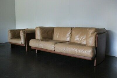 "Mint Rare Poltrona Frau ""Polo"" 2-Seat Sofa & Armchair Suite in Dark Brown & T..."