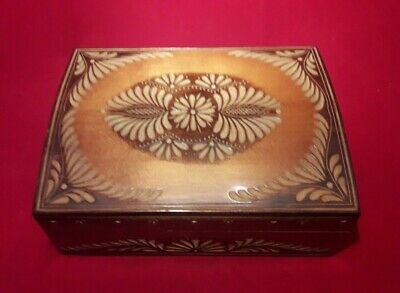 Vintage Domed Wooden Box - Carved & Pyrographed Decoration