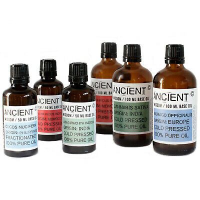 100% Pure Natural Base Oil 100ml bottles (Various available) Ancient Wisdom Oils