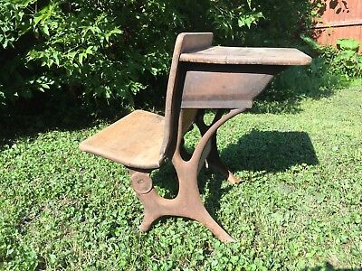 Antique Late 1800's School Desk And Chair Wood Wrought Iron Folding Seat