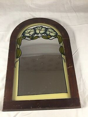 Antique Distressed Wood Framed Mirror Hanging Wall Mounted