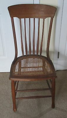 Solid Oak Hand-Caned Antique Side Chair ~ Rich Natural Patina ~ Elegant & Rustic
