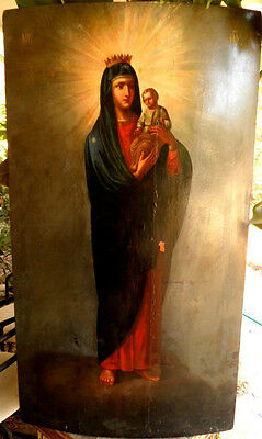 19C Large Antique Russia Russian Church Icon of the Mother of God 46,5 x 26 inch