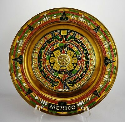 Vintage Solid Metal Hanging   Mexican Plate Wall Hanging  MAYAN Calendar