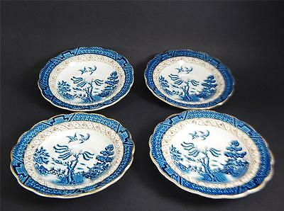 """Antique Booths English """"Real Old Willow"""" Saucers~#A8025~Retired 1910    4 Pieces"""