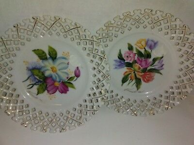 Wales Chinaware  PLATES Hand Painted Reticulated Lattice Rose Floral