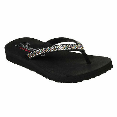 SKECHERS MEDITATION ROCK Crown Zehensteg Sandale schwarz