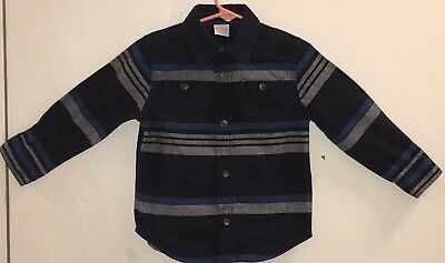 Gymboree Toddler Boy 2T Shirt Long Sleeve Button Down Blue Stripes Two Pockets