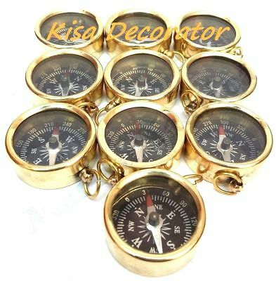 "Lot Of 50 Pcs Maritime Nautical Vintage Style 1"" Brass Pocket Compass Key Chain"
