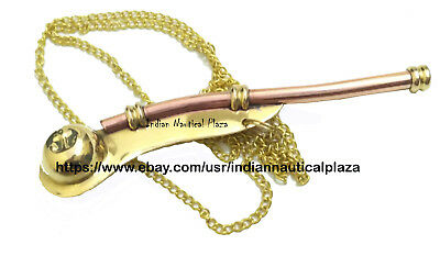 "5"" Brass NEW Copper Boatswain Whistle Chain Bosun's  Call Pipe Maritime Nautical"