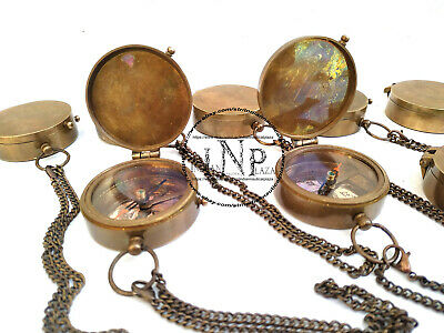 """Lot of 50pc Solid Brass Vintage Maritime Pocket Compass 2"""" Antique Nautical Gift"""