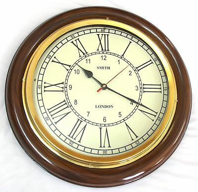 Antique Vintage Brass & Wooden 12 inch Wall Clock smith london A Vintage Decor