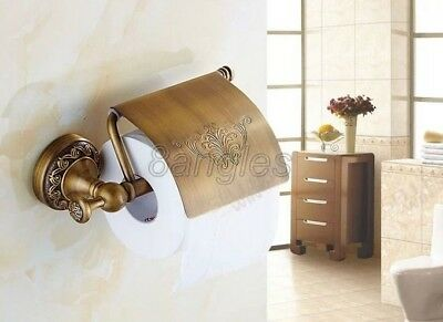 Antique Brass Wall Mounted Bathroom Toilet Paper Towel Roll Tissue Holder 8ba487