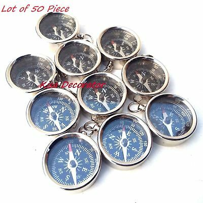 Lot Of 50 Pcs Maritime Vintage Silver Finish Locket Style Brass Pocket Compass
