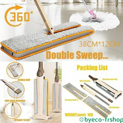 Double Sided Non Hand Washing Flat Wooden Floor Dust Push Mop Cleaning Tools UK0