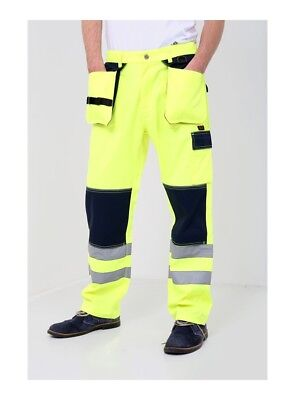 Hi-Vis Viz Visibility Comfort Two Tone Polycotton Cargo Trousers Work Pants