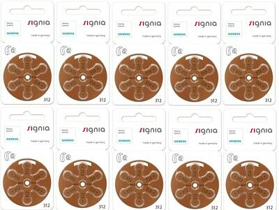 Signia hearing aid batteries (Size 312) - 10 cards (60 cells). MF